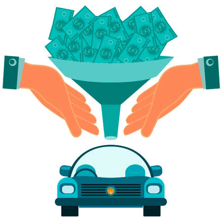car bills: Dollar bills falling through a funnel in hand over the car. Buying a car, spending on travel, investment in transport.