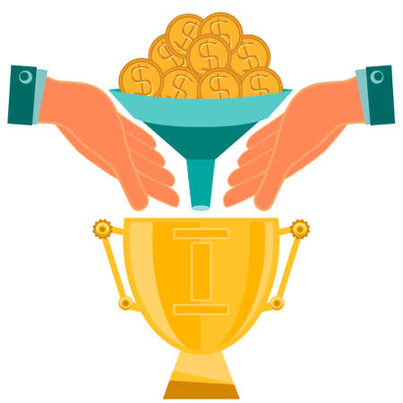 profit celebration: Gold coins fall down through the funnel in hand, over prize trophy Cup. Payment for winning, the winner of the competition, investing in the sport.