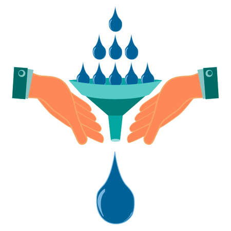 drought: Water drops, the rain poured into the funnel in his hands. Natural disaster, flood. Drought, help in irrigation of plants, water collection. Global warming.