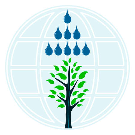 A tree in the rain, drops of water on the background of the globe. Natural disaster, flood, storm. Drought, help in irrigation of plants and agriculture. Global warming. Illustration