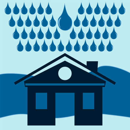 rainwater: The house in the rain, drops of water. Natural disaster, flood, storm. Illustration
