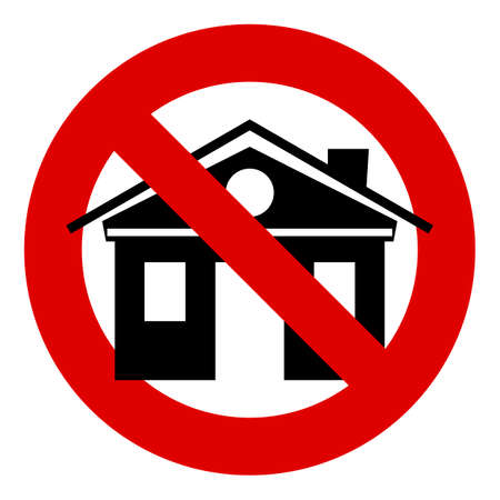 ban sign: House building. Stop or ban sign. Real estate icon.  Real-estate property symbol. Prohibition red symbol.