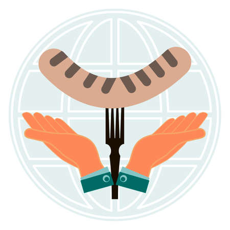 barbecued: Grilled sausage on fork in hand on background of the globe. Global fast food. The problem of hunger in the world.
