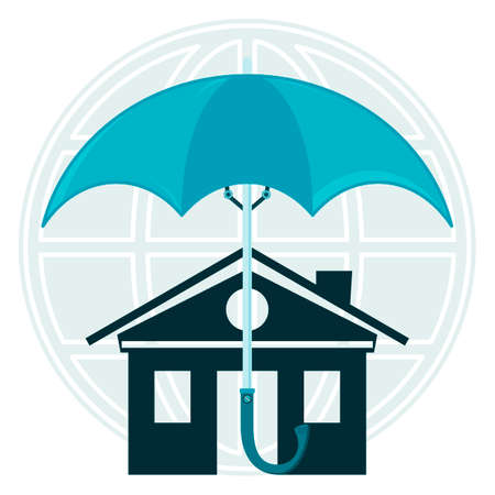 security alarm: The house under an umbrella on the background of the globe. The protection of property, protection of homes from flooding, safety. A security alarm.