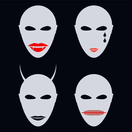 mythological character: Set of four faces, masks an abstract style. Halloween, vampire, demon with horns.