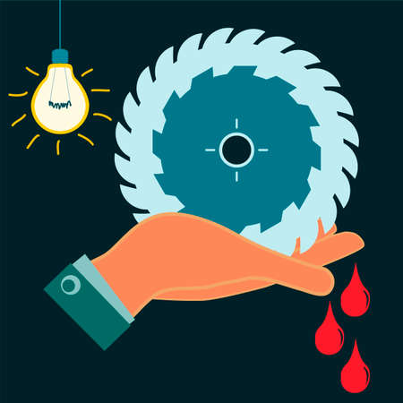 electricity danger of death: Circular saw in his hand, drops of blood. The wound is in a dark room with light bulb. Industrial security, occupational accident.