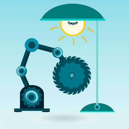 woodworking: Circular saw under the electric light bulb. Machine, woodworking tool, the workplace.