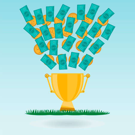 expenditure: Dollar banknotes and coins flying in a Golden trophy Cup, green grass. Cash Expenditure on sporting achievements, the championship leader. A bribe for a victory. Money for the sport.