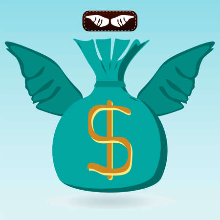 transfers: Money bag with dollar symbol with wings. Investment, the flight of Finance, money transfers.