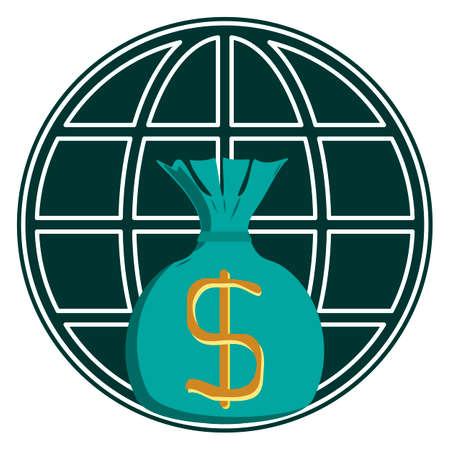 fund world: Money bag with dollar symbol on a background of the globe. Investments, travel, money transfers. World capital. Illustration