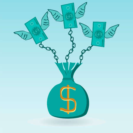 stagnation: Dollar bills with wings chained to the money bag, can not leave. The character of taxes, debts, stagnation.