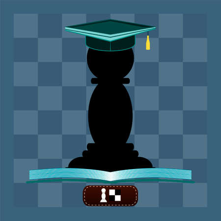 Chess pawn with hat of a graduate reading an open book. Education, the game of chess.