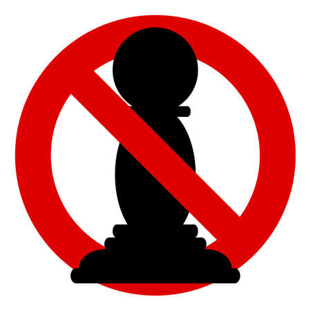 solder: Pawn. Chess icons. No, Ban or Stop signs.  Prohibition forbidden red symbols.