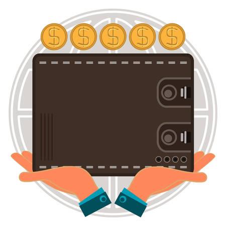international money: Wallet for cash in hand, dollar gold coins, globe. Global capital accumulation, international money transfers.