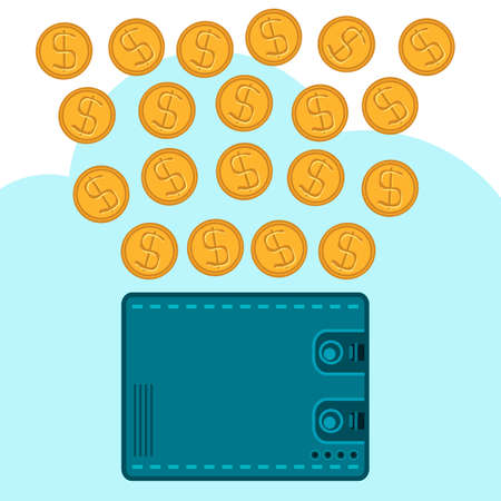 wages: Gold dollar coins on a wallet on the background of clouds. Storage of money wages. Illustration