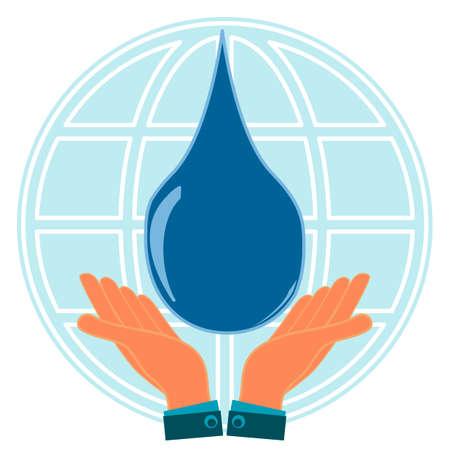 manos unidas: Gota azul en las manos en el fondo del globo. Protección de los recursos hídricos mundiales, la purificación del agua, el agua pura. Reclamación de tierras. Vectores
