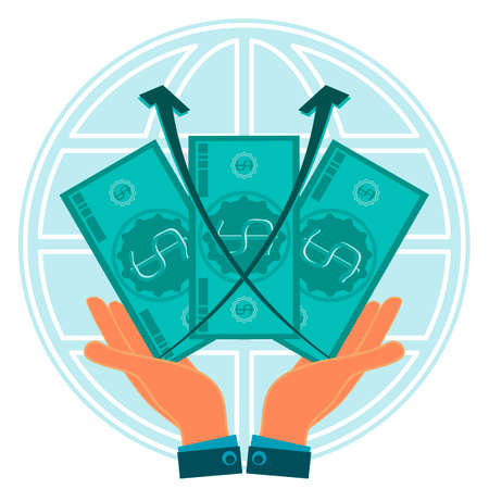 exchange rate: Three dollar bills in hands on background of the globe. The growth of the exchange rate, profit growth. World capital. Illustration