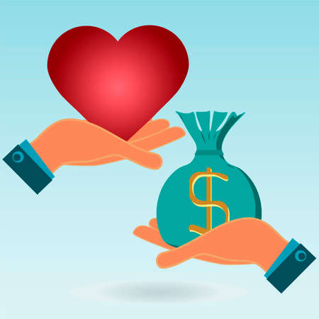 love of money: Red heart and money bag in his hands. Love in exchange for money. Payment cardiolite. Illustration