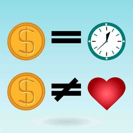 love of money: Gold dollar coins, watches, red heart. Time is money. Love is not for sale.