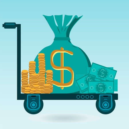 Money on the trolley. Coins, dollar bills, a bag of money in the Bank for safekeeping.