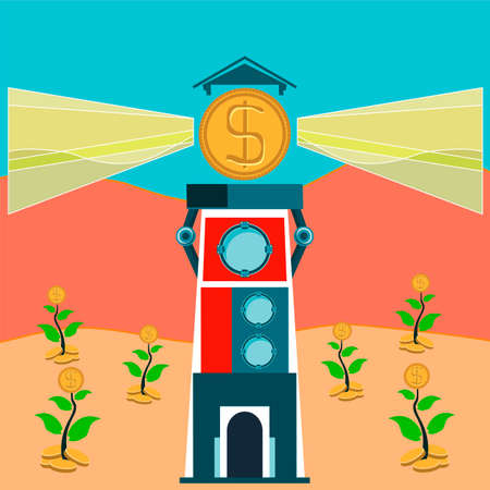 destiny: Lighthouse with rays of light from the dollar coins. Growing money trees. Business angel investments. Illustration