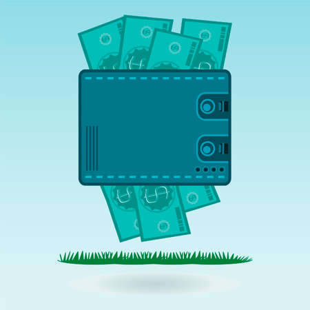 wages: Dollar bills in your wallet on the green grass. Keeping the money investment, wages, payments for goods in cash Illustration