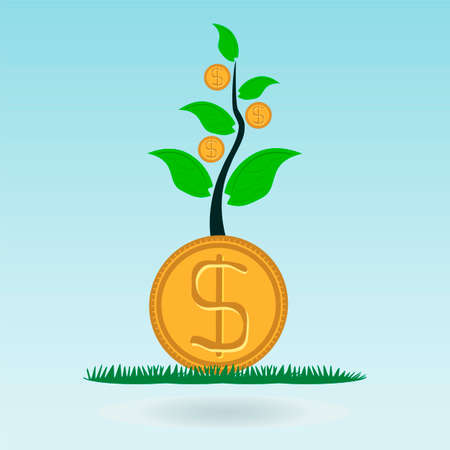 global finance: Dollar gold coin, money in the green sprout of tree. Investing in innovation, the protection of nature. Global Finance.