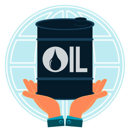 conservancy: A barrel of oil in hands on background of the globe. Petroleum exchange. The nature conservancy.