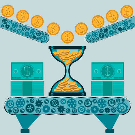 thinking machines: Hourglass with gold coins and dollar bills on the machine. Time is money. The manufacture of money. A Deposit in the Bank.