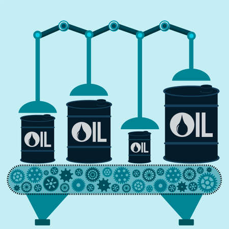 pail tank: The machine makes barrels of oil. Oil production. Refinery. The shipment of oil.