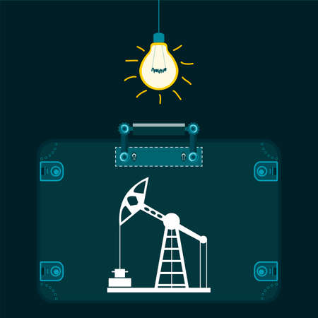 hydrocarbons: Oil rig in a suitcase in a dark room with a light bulb. Market oil trade. The production of hydrocarbons. The transportation of oil.