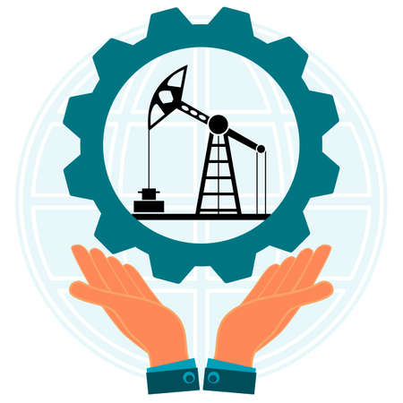 Hands holding a gear with the symbol of an oil derrick on background of the globe. Industrialization. Oil industry.