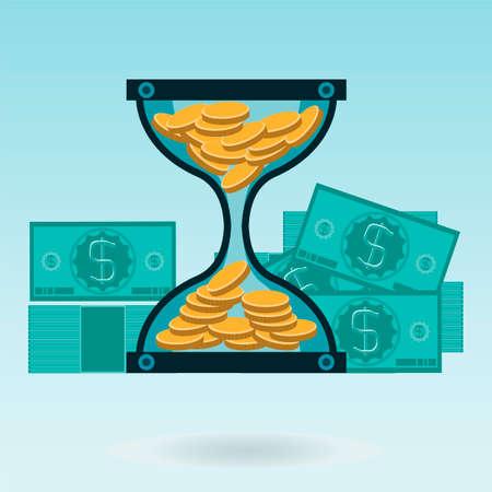 reloj de arena: Reloj de arena con monedas de oro y billetes de un dólar. El tiempo es dinero. Un depósito en el banco. Vectores