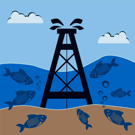 swapping: Oil rig under water with the fish. Mineral production on the shelf. Protection of nature and the ocean.