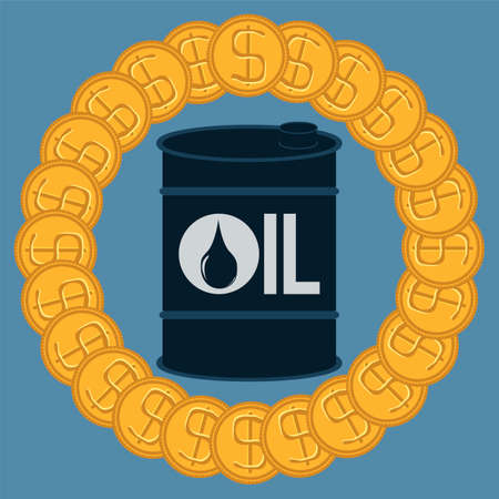 hydrocarbons: A barrel of oil in terms of gold dollar coins. Buy hydrocarbons. The crude oil market. Investment in mineral extraction. Illustration