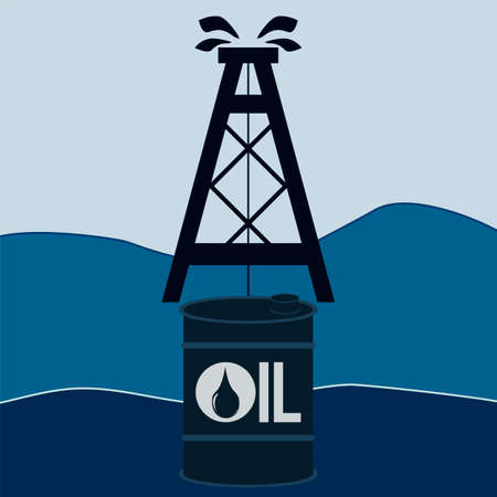 hydrocarbons: A barrel of oil and an oil derrick. Petroleum exchange. Oil production in the sea, on the shelf. The production of hydrocarbons.