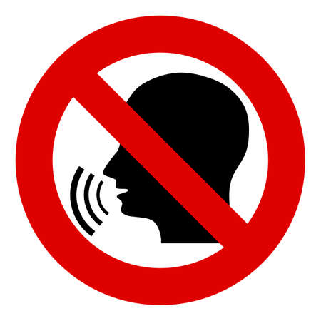 No, la señal de stop, prohibido. Busto parlante. Silueta de una cabeza con ondas de sonido. Prohibir la difusión de información, chismes. Censura. Ilustración de vector
