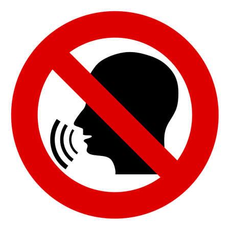 Non, panneau d'arrêt, interdit. Head parler. Silhouette d'une tête avec des ondes sonores. Interdiction de la diffusion de l'information, des ragots. La censure. Banque d'images - 50684217