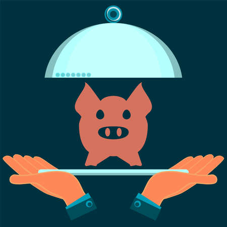 serving dish: A serving dish with the pig in his hands. Meat eating in the restaurant.