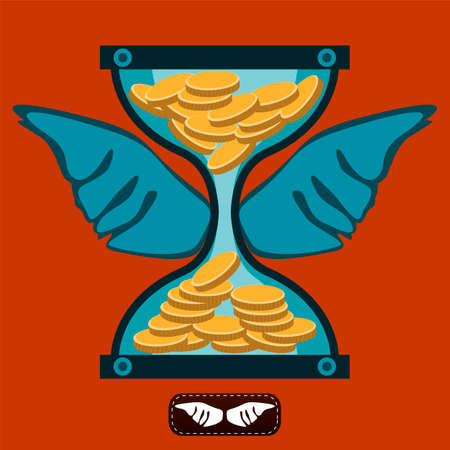 Hourglass with gold coins and wings. Time is money. A Deposit in the Bank. Money is working. The transfer of funds. Illustration