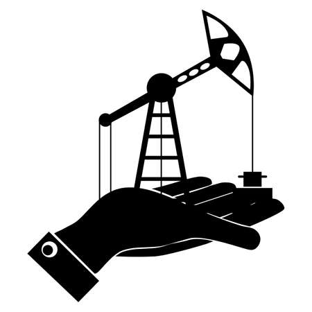 hydrocarbons: Silhouette of oil rig at hand. Exchange, buy oil. The market of hydrocarbons. Illustration