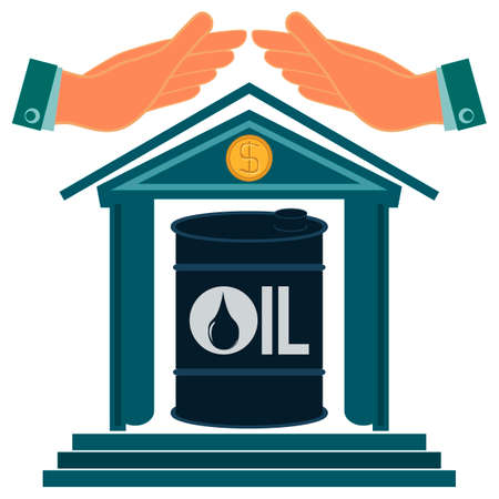 protectionism: Hands protect the building with a barrel of oil. Petroleum exchange. Protectionism. Protection from price growth. Storage of oil.