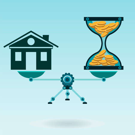 balanza: Reloj de arena con monedas de oro y una casa en la balanza en equilibrio. El tiempo es dinero. El mercado de bienes raíces. Hipoteca. Vectores