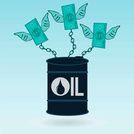dependence: A barrel of oil chained dollar bills with wings. Oil production. Environmental pollution. The power of money and oil. The dependence on the petrodollar.