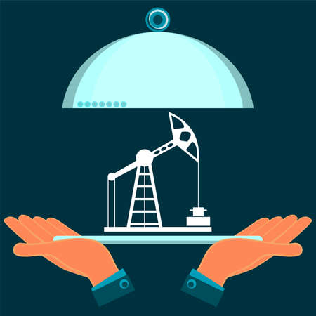 hydrocarbons: Oil rig on a serving plate in hands. Market oil trade. The production of hydrocarbons. The transportation of oil. Illustration