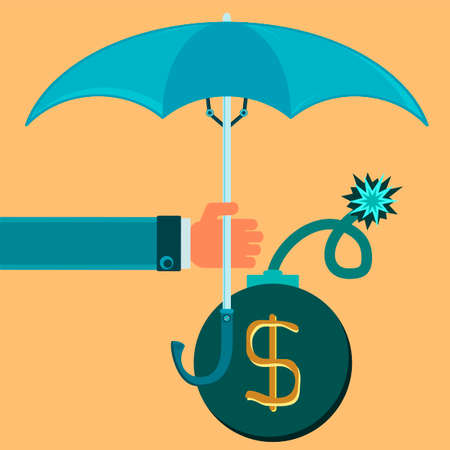wick: Bomb with burning wick under the umbrella. Protection of the dollar. The fight against terrorism.