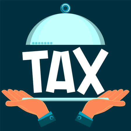 time account: A serving dish with the tax in his hands. Payment of taxes.