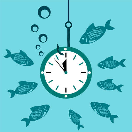 ticking: Clock, Watch on the hook under water with the fish. Time is money. A waste of time.
