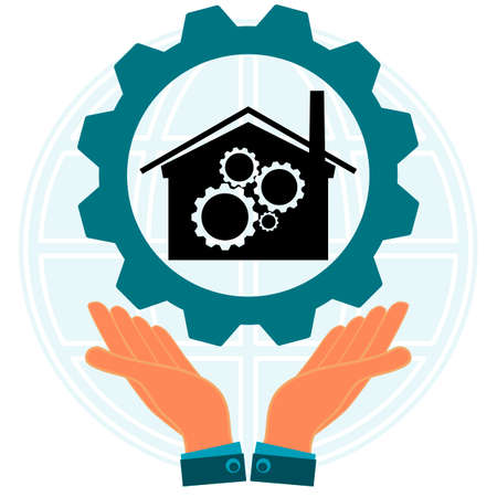 Hands holding a gear with the symbol of the building of the plant on the background of the globe. Industrialization. The occupational worker. Illustration