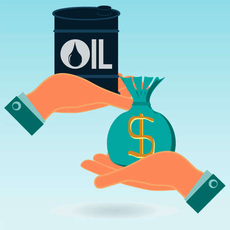 price development: A barrel of oil and a bag of money in his hands. Exchange, buy oil. The market of hydrocarbons.